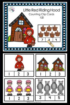 Little Red Riding Hood Counting Clip Cards Little Red Ridding Hood, Red Riding Hood, Fairy Tale Activities, Preschool Activities, Fairy Tales Unit, Fairy Tale Theme, Traditional Tales, Preschool Crafts, Wolf