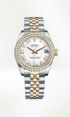 Rolex Datejust 31 Rolesor in 904L steel and 18 ct yellow gold, with a bezel set with diamonds, white dial and Jubilee bracelet.