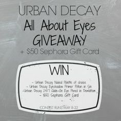 Urban Decay & Sephora Giveaway! ^_^ http://www.pintalabios.info/en/fashion_giveaways/view/en/1870 #International #MakeUp #bbloggers #Giveaway