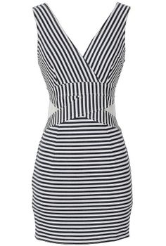 Fine Lines Navy and White Stripe Bodycon Dress