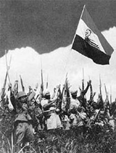 Azad Hind with Imperial Japanese soldiers celebrate a victory.