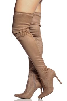 Khaki Faux Suede Thigh High Pointed Toe Boots @ Cicihot Heel Shoes online store sales:Stiletto Heel Shoes,High Heel Pumps,Womens High Heel Shoes,Prom Shoes,Summer Shoes,Spring Shoes,Spool Heel,Womens Dress Shoes