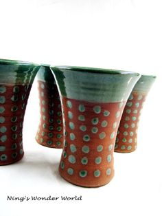 Ceramic tumbler pottery cups earthy green by Ningswonderworld, $25.00