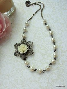 An Ivory Rose Antiqued Brass Metal Flower, Ivory Swarovski Pearls Necklace. Bridesmaid Gifts. Maid of Honor. Vintage Inspired.
