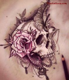 skull roses lower back tattoo - Google Search