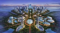 """Located on new artificail petal shaped island. Hainan Ocean Flower Resort is an amazing masterpiece of futuristic architecture to create a new 7 star """"water drop"""" hotel. Fantasy City, Fantasy Places, Fantasy World, Futuristic City, Futuristic Architecture, Minimalist Architecture, Futuristic Design, Architecture Office, Chinese Architecture"""