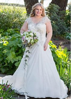 Marvelous Chiffon V-neck Neckline A-line Plus Size Wedding Dresses With Beaded Embroidery