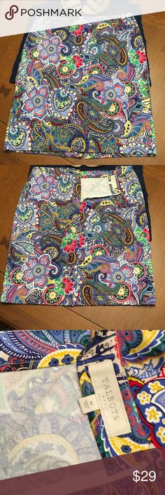 Colorful Talbots Pencil Skirt Colorful Talbots Pencil Skirt with back zipper and slit Talbots Skirts Pencil