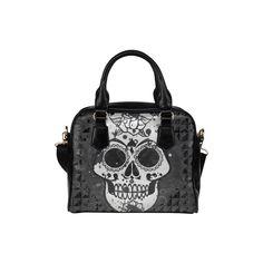 black and white Skull Shoulder Handbag (Model 1634) (€26) via Polyvore featuring bags, handbags, shoulder bags, black and white handbags, white and black purse, shoulder handbags, black white handbag und skull purse