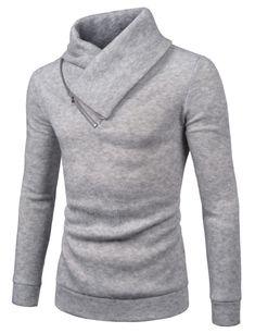 (NKKT731) TheLees Mens Slim Fleece Sweatshirt Turtleneck Pullover Knit Sweater