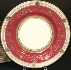12 Minton for Tiffany Red Medallion Dinner Plates: Gold Encrusted/Gilded