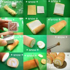 how to: miniature cake roll Cute Polymer Clay, Polymer Clay Miniatures, Fimo Clay, Polymer Clay Projects, Polymer Clay Charms, Polymer Clay Creations, Polymer Clay Jewelry, Doll Food, Tiny Food