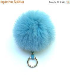 Fox Fur bag charm fur pom pom keychain fur ball keyring purse pendant baby blue