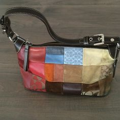 Authentic Coach Patchwork Purse - Dark Colored For all those gals who just can't decide what they like better, calfskin, swank suede, dyed canvas or their signature fabric, then this bag is for you!  Good condition- previously loved. Has signs of wear/discolorations on some patches. Coach Bags Shoulder Bags