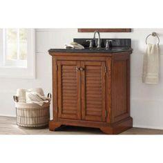 Home Decorators Collection Cedar Cove 30 In. Vanity In Oak With Granite  Vanity Top In Blue Butterfly