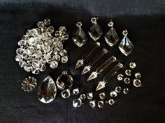 10Pcs Clear 50MM Teardrop Chandelier Crystal Glass Lamp Prism Parts Brass Bowtie