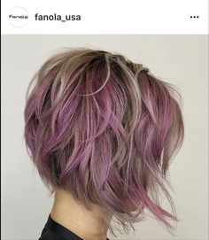"cute cut & color - a couple shades of chunky ""pink"" blended with a ashier blonde"