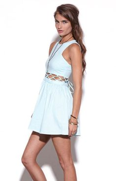 Caged Mid Section Dress #mint #cutouts