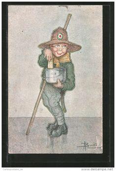 """CPA Illustrateur Adolfo Busi: """"Il Biscotto"""", Pfadfinder Nascht Kekse"""
