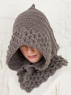 crochet (pattern is here: http://tinyurl.com/crocodilehood)