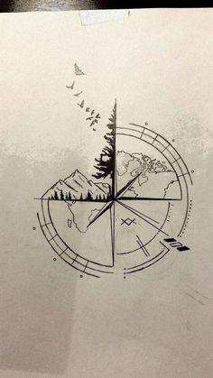 Nautical Compass Tattoo, Small Compass Tattoo, Compass Art, Compass Tattoo Design, Mens Compass Tattoo, Tattoo Small, Compass Drawing, Nautical Tattoos, Map Tattoos
