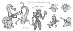 """Some residual Star Frontiers roughs from a misc sheet scanned a few days ago."""
