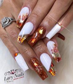 Acrylic Nails Coffin Pink, Acrylic Nail Designs Coffin, Fall Acrylic Nails, Gold Glitter Nails, Autumn Nails, Bling Nails, Holloween Nails, Fall Nail Art Designs, Thanksgiving Nails