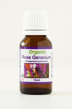 Geranium, Rose (hormone balance, deodorant, bug repellant, cellulite reduction, addiction withdrawal)