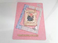 Carte 3D vintage shabby plus enveloppe rose bleue bouquet