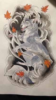 0e0cc3193 Japanese/Neo-Traditional wolf drawn by me for a client. Loved this one too  much NOT to post it.