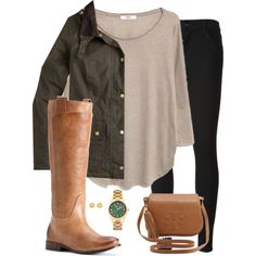 A fashion look from February 2015 featuring long sleeve shirts, waxed jacket and black skinny jeans. Browse and shop related looks.