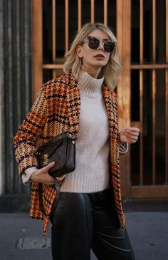 Milan Street Style Outfit: tweed coat and leather culottes.