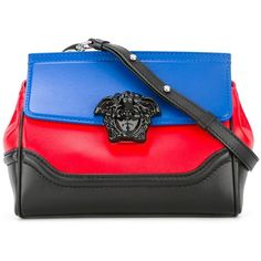 Versace Palazzo Empire colour block shoulder bag ($1,707) ❤ liked on Polyvore featuring bags, handbags, shoulder bags, black, colorblock purse, clasp handbag, versace purses, clasp purse and print purse