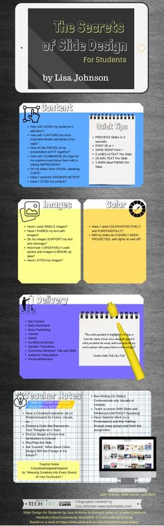 The Secrets of Slide Design for Students (Infographic) Instructional Coaching, Instructional Design, Teaching Kids, Teaching Biology, Teaching Resources, Teacher Notes, Teacher Stuff, Research Writing, Online College Degrees