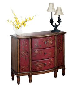 Another great find on #zulily! Red Floral Console Cabinet #zulilyfinds