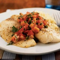 Broiled Tilapia with Tomato-Caper Salsa Recipe | The mild tilapia is a perfect foil for the bright, zesty salsa. Serve a green salad and roasted asparagus on the side to make this dinner a celebration of healthy ingredients