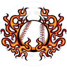 flaming baseball or softball ball logo by dennis crow via rh pinterest com