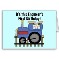 Train Engineer 1st Birthday Tshirts and gifts Greeting Card