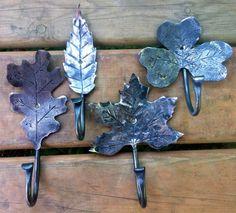 Leaf Coat Hooks. Hand Forged by Blacksmith.