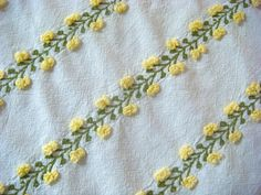 Fieldcrest Yellow and White Floral Vintage Chenille Fabric 18 x 24 Inches