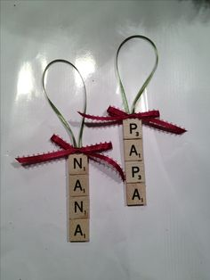 Christmas Ornament for kids to make - remember to find Scrabble games at summer garage sales.