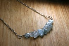 Winters Day Necklace  Aquamarine Tumbled by AllowingArtDesigns