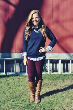 purple pants, brown boots, blue and white gingham button up shirt, navy blue sweater, light blue statement necklace