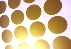 Peel and Stick Metallic Gold Polka Dot Wall Decals   Long Life   Apartment Safe