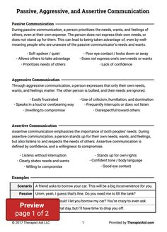 Assertive Communication Worksheet | Self Esteem Worksheets ...