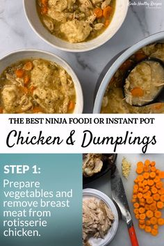 Ninja Foodi Chicken and Dumplings Ninja Foodi Chicken and Dumplings,Ninja Foodi A healthier, super simple chicken and dumplings recipe made with rotisserie chicken and low fat dumplings. Dumplings For Soup, Dumpling Recipe, Chicken And Dumplings, Homemade Dumplings, Chinese Dumplings, Chicken Taco Recipes, Recipe Chicken, Lemon Chicken, Pressure Cooker Recipes