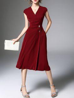 Wine Red Elegant Polyester Plain Pockets Midi Dress