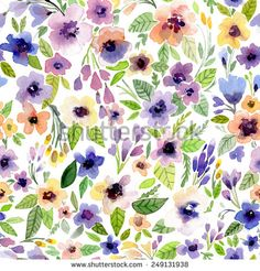 Vector illustration for textile and different holidays. Cute summer background. Floral pattern with watercolor flowers  on the white background. Isolated.