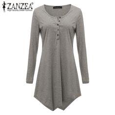 Zanzea camisa longa t mulheres 2017 primavera outono casual preto cinza botão irregular hem tops vestido de camisa plus size t-shirt