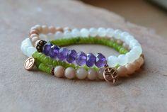 Wrap Bracelet Natural Stone Boho Chic by GratefulHeartBazaar